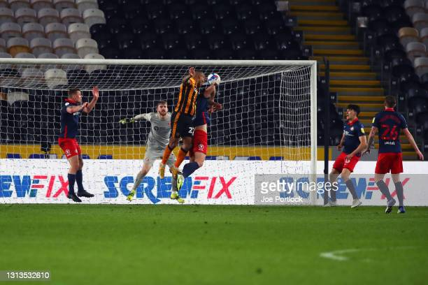 Josh Magennis of Hull City scores during the Sky Bet League One match between Hull City and Sunderland at KCOM Stadium on April 20, 2021 in Hull,...