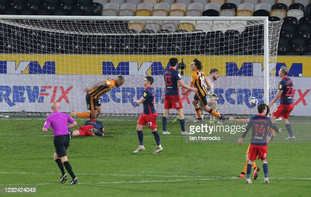 Josh Magennis of Hull scores their second goal during the Sky Bet League One match between Hull City and Sunderland at the Kcom Stadium on April 20,...