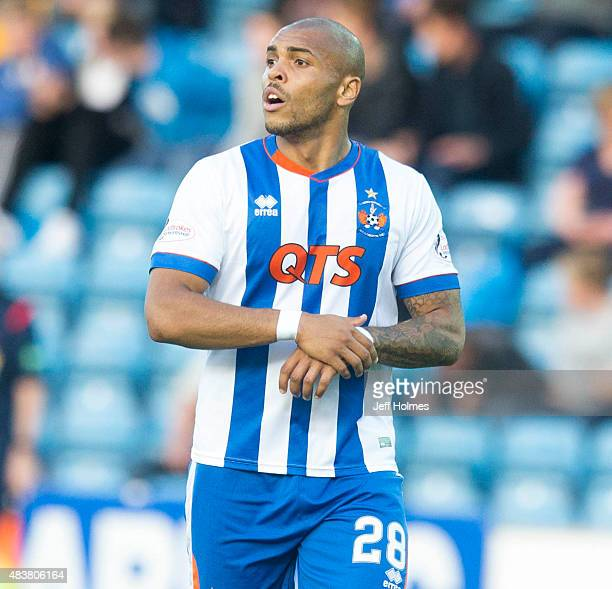 Josh Magennis of Kilmarnock in action during the Scottish premiership match between Kilmarnock and Celtic at Rugby Park on August 12 2015 in...