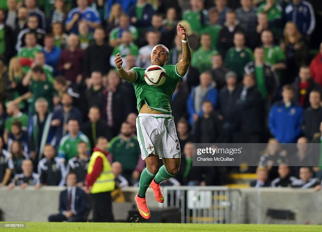 Josh Magennis of Northern Ireland during the Euro 2016 Group F international football match against Greece at Windsor Park on October 8, 2015 in Belfast, Northern Ireland.