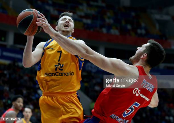 Josh Magette #7 of Herbalife Gran Canaria competes with Alec Peters #5 of CSKA Moscow in action during the 2018/2019 Turkish Airlines EuroLeague...
