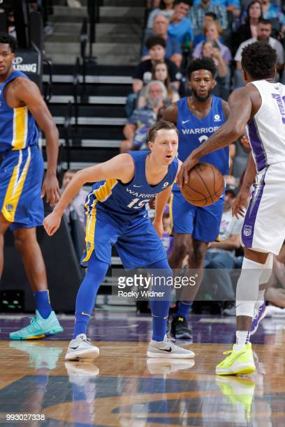 Josh Magette of the Golden State Warriors plays defense against the Sacramento Kings on July 3 2018 at Golden 1 Center in Sacramento California NOTE...