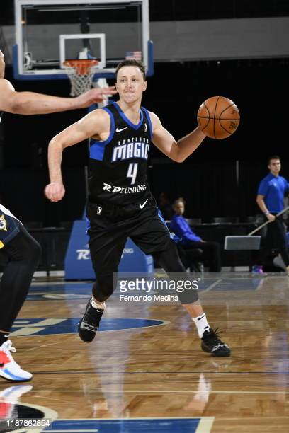 Josh Magette of the Lakeland Magic moves the ball against the Fort Wayne Mad Ants during the game on December 10, 2019 at RP Funding Center in...