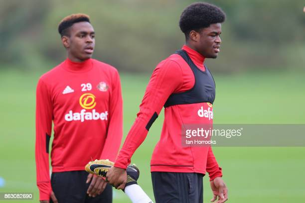 Josh Maja and Joel Asoro during a Sunderland AFC training session at The Academy of Light on October 19 2017 in Sunderland England