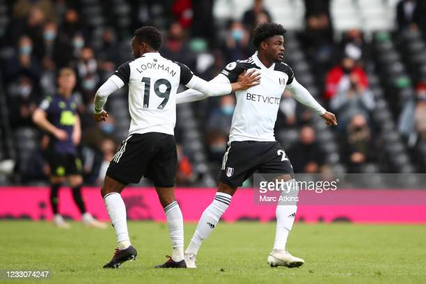 Josh Maja comes on to replace Ademola Lookman of Fulham during the Premier League match between Fulham and Newcastle United at Craven Cottage on May...