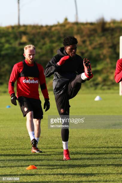 Josh Maja during a Sunderland AFC training session at The Academy of Light on November 16 2017 in Sunderland England