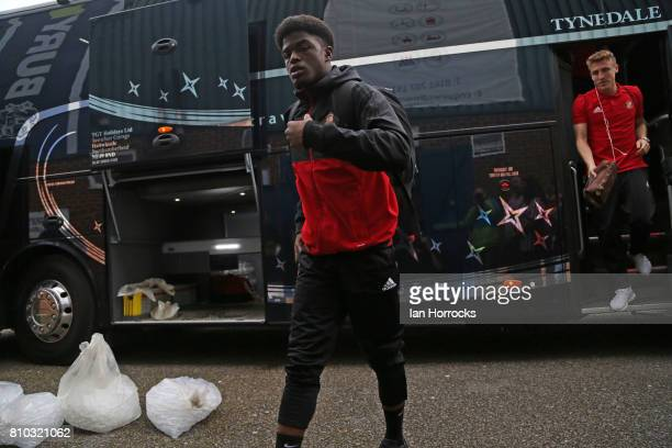 Josh Maja of Sunderland arrives at Gigg Lane for a preseason friendly between Bury and Sunderland on July 7 2017 in Bury United Kingdom