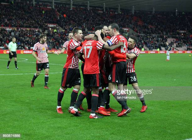 Josh Maja of Sunderland celebrates after he scored the only goal during the Sky Bet Championship match between Sunderland and Fulham at Stadium of...