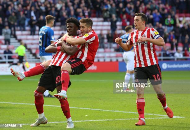 Josh Maja of Sunderland celebrates scoring the first goal during the Sky Bet League One match between Sunderland and Rochdale at Stadium of Light on...