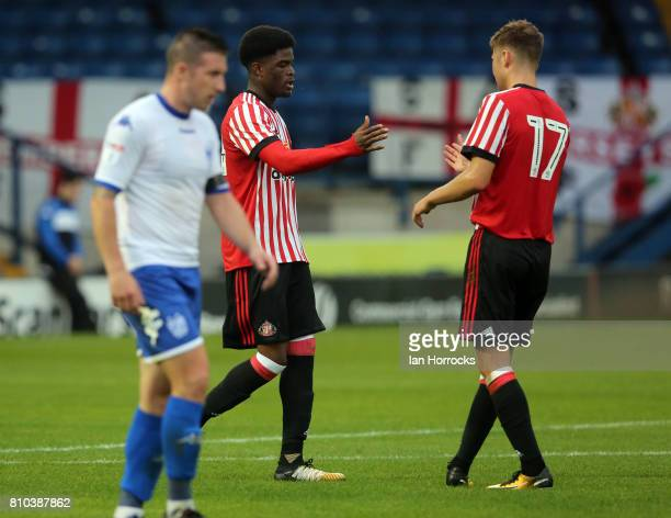 Josh Maja of Sunderland celebrates scoring the second Sunderland goal at Gigg Lane during a preseason friendly between Bury and Sunderland on July 7...