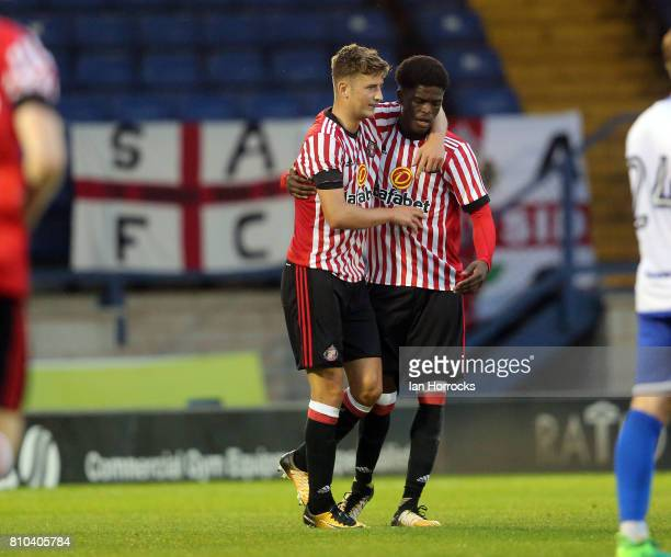 Josh Maja of Sunderland celebrates scoring the third Sunderland goal at Gigg Lane during a preseason friendly between Bury and Sunderland on July 7...