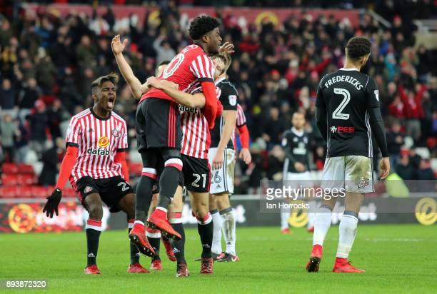 Josh Maja of Sunderland celebrates with teammates after he scored the opening goal during the Sky Bet Championship match between Sunderland and...