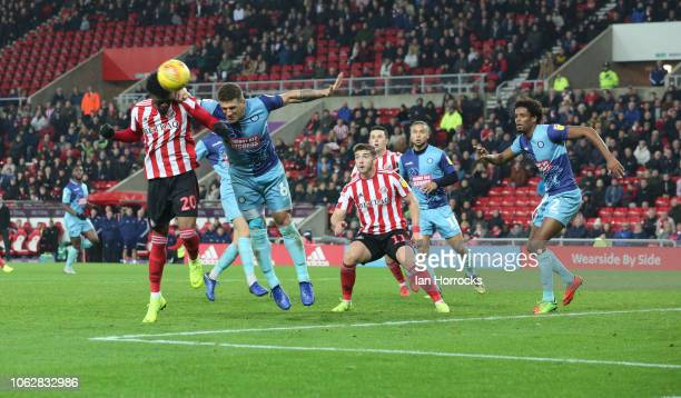 Josh Maja of Sunderland heads toward the Wycombe goal during the Sky Bet League One match between Sunderland and Wycombe Wanderers at Stadium of...