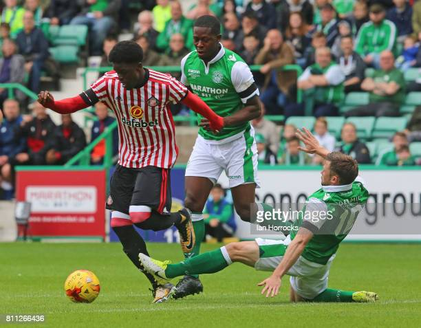Josh Maja of Sunderland is brought down during a preseason friendly between Hibernian FC and Sunderland AFC at Easter Road on July 9 2017 in...
