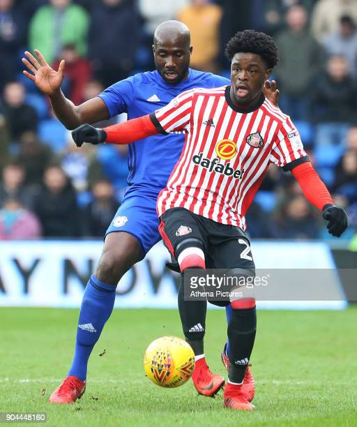 Josh Maja of Sunderland is marked by Sol Bamba of Cardiff City during the Sky Bet Championship match between Cardiff City and Sunderland at the...