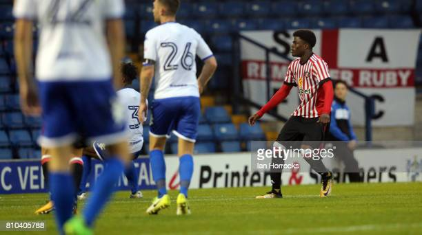 Josh Maja of Sunderland scoring the third Sunderland goal at Gigg Lane during a preseason friendly between Bury and Sunderland on July 7 2017 in Bury...
