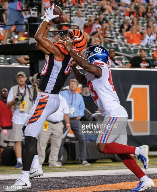 Josh Malone of the Cincinnati Bengals catches the ball for a touchdown as Ronald Zamort of the New York Giants defends during the preseason game at...