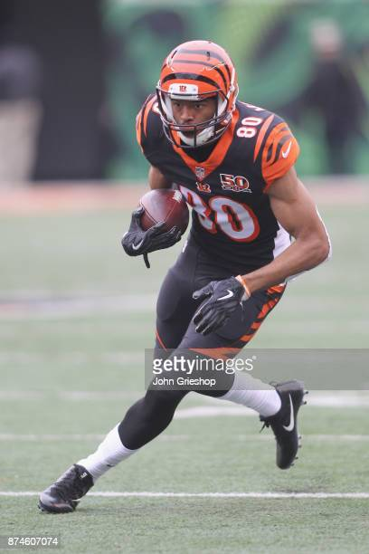 Josh Malone of the Cincinnati Bengals runs the football upfield during the game against the Indianapolis Colts at Paul Brown Stadium on October 29,...