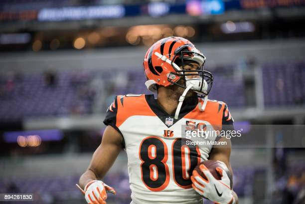 Josh Malone of the Cincinnati Bengals warms up before the game against the Minnesota Vikings on December 17, 2017 at U.S. Bank Stadium in...
