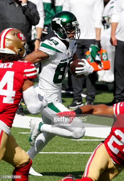 Josh Malone of the New York Jets in action against the San Francisco 49ers at MetLife Stadium on September 20, 2020 in East Rutherford, New Jersey....