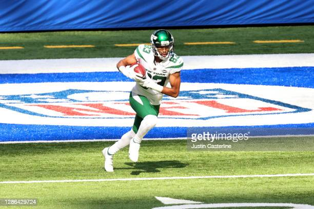 Josh Malone of the New York Jets runs the ball in the game against the Indianapolis Colts at Lucas Oil Stadium on September 27, 2020 in Indianapolis,...
