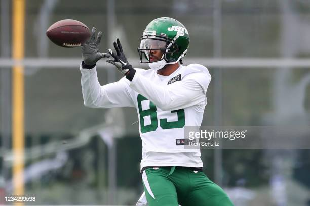 Josh Malone of the New York Jets works out during a morning practice at Atlantic Health Jets Training Center on July 29, 2021 in Florham Park, New...