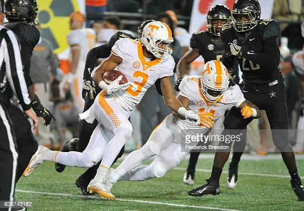 Josh Malone of the University of Tennessee Volunteers plays against the Vanderbilt Commodores at Vanderbilt Stadium on November 26, 2016 in...