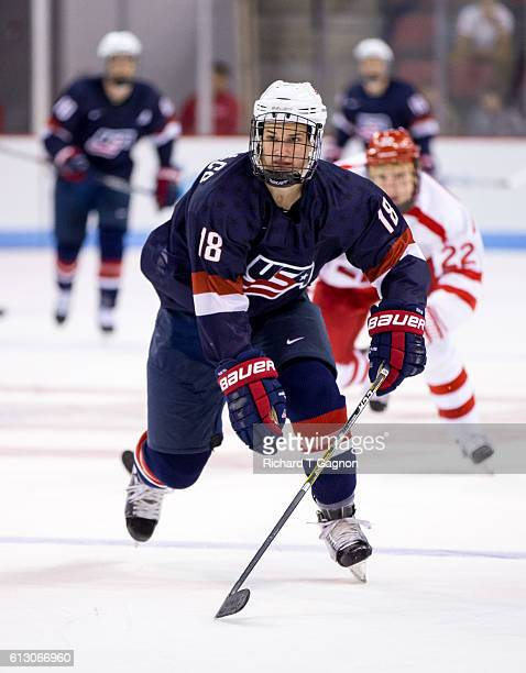 Josh Maniscalco of the US National Under18 Team skates against the Boston University Terriers during NCAA exhibition hockey at Agganis Arena on...