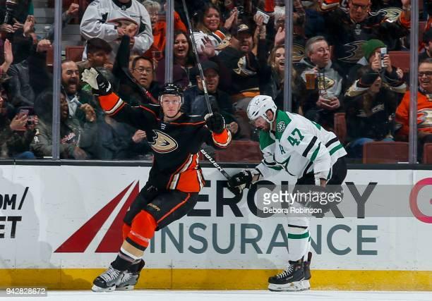 Josh Manson of the Anaheim Ducks celebrates as Alexander Radulov of the Dallas Stars reacts to Manson's secondperiod goal during the game at Honda...