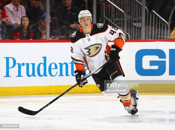 Josh Manson of the Anaheim Ducks skates against the New Jersey Devils at the Prudential Center on December 18 2017 in Newark New Jersey The Devils...