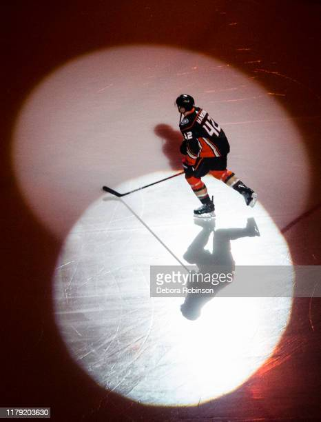 Josh Manson of the Anaheim Ducks takes the ice on Opening Night to start the game against the Arizona Coyotes at Honda Center on October 3 2019 in...