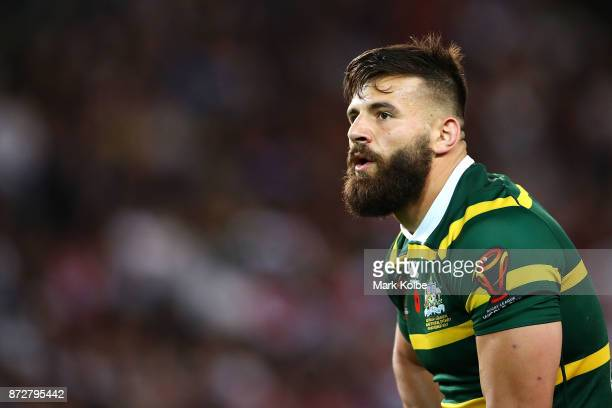Josh Mansour of Australia watches on during the 2017 Rugby League World Cup match between Australia and Lebanon at Allianz Stadium on November 11...