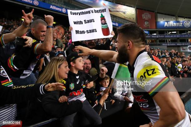 Josh Mansour of the Panthers acknowledges the crowd as he celebrates victory during the NRL Elimination Final match between the Manly Sea Eagles and...