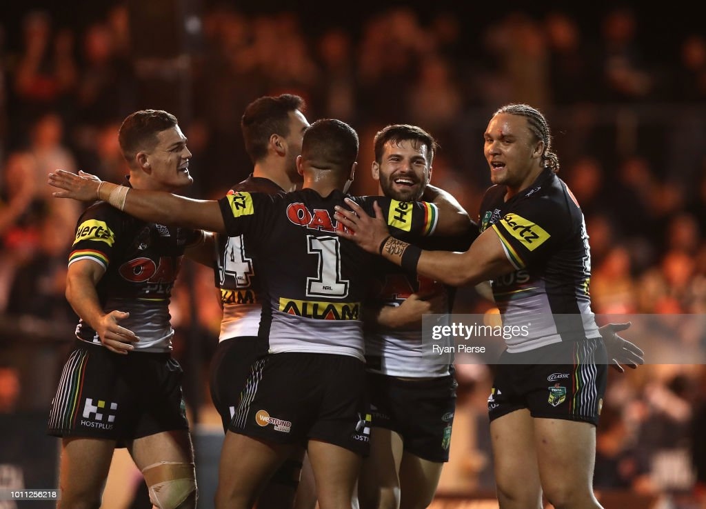 Josh Mansour of the Panthers celebrates a try during the round 21 NRL match between the Penrith Panthers and the Canberra Raiders at Panthers Stadium on August 5, 2018 in Penrith, Australia.