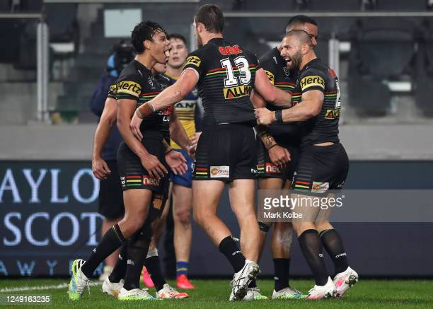 Josh Mansour of the Panthers celebrates scoring a try during the round five NRL match between the Parramatta Eels and the Penrith Panthers at...