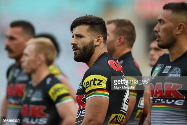Josh Mansour of the Panthers looks on after conceding a try during the round three NRL match between the Bulldogs and the Panthers at ANZ Stadium on...