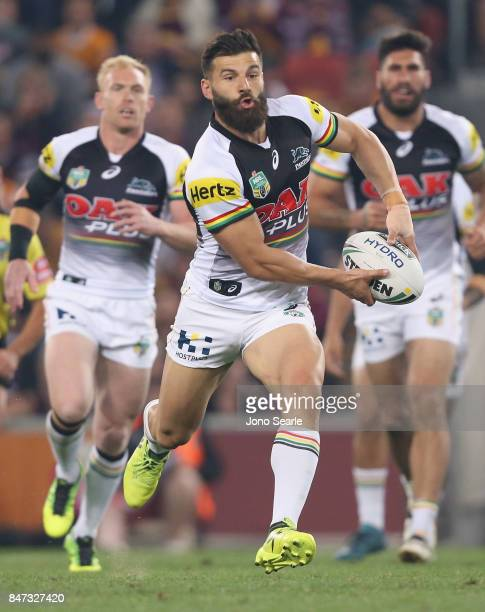 Josh Mansour of the Panthers looks to pass the ball during the NRL Semi Final match between the Brisbane Broncos and the Penrith Panthers at Suncorp...