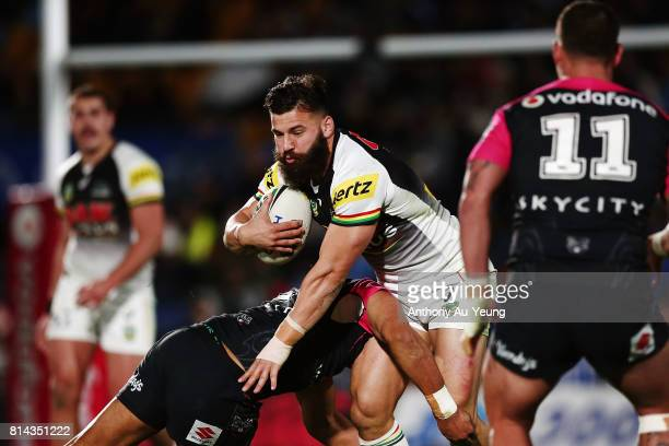 Josh Mansour of the Panthers on the charge during the round 19 NRL match between the New Zealand Warriors and the Penrith Panthers at Mt Smart...