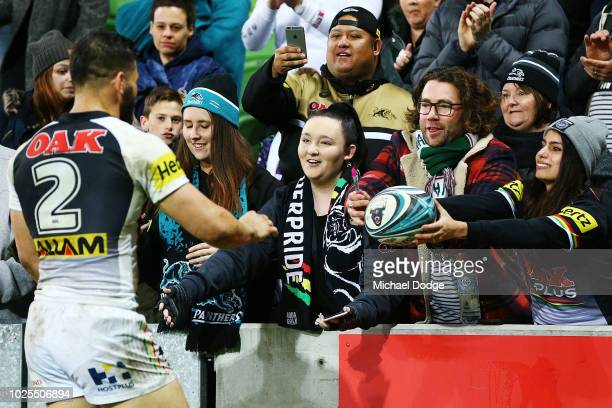 Josh Mansour of the Panthers thanks fan after their win during the round 25 NRL match between the Melbourne Storm and the Penrith Panthers at AAMI...
