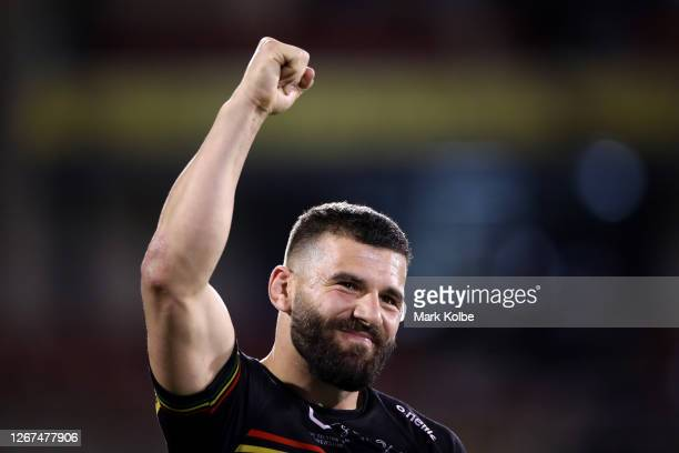 Josh Mansour of the Panthers thanks the crowd after winning the round 15 NRL match between the Penrith Panthers and the Cronulla Sharks at Panthers...