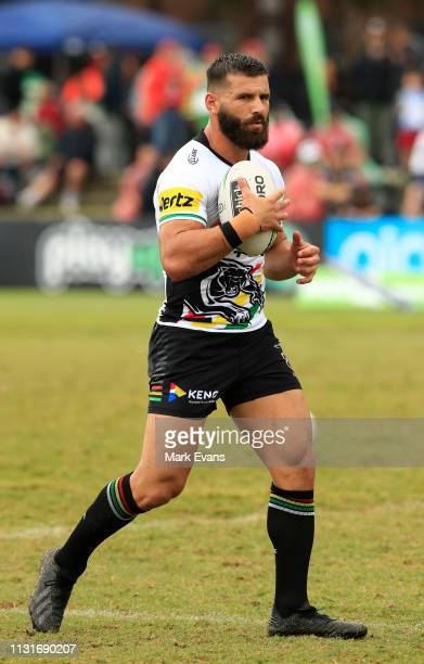 Josh Mansour of the Panthers warms up beforethe NRL trial match between the South Sydney Rabbitohs and the Penrith Panthers at Redfern Oval on...