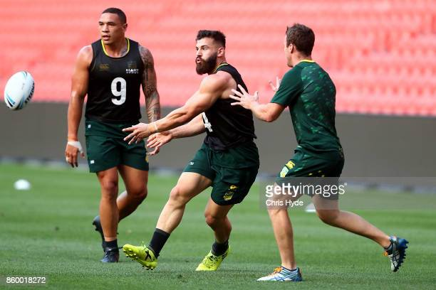 Josh Mansour passes during an Australian Kangaroos Rugby League World Cup training session at Suncorp Stadium on October 11 2017 in Brisbane Australia