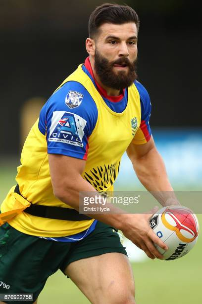 Josh Mansour passes during an Australian Kangaroos Rugby League World Cup training session at Langlands Park on November 21 2017 in Brisbane Australia