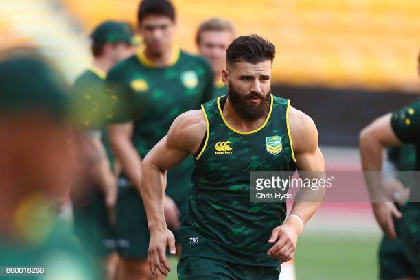 Josh Mansour runs during an Australian Kangaroos Rugby League World Cup training session at Suncorp Stadium on October 11 2017 in Brisbane Australia