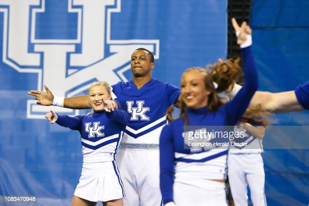 Josh Marsh and the University of Kentucky cheerleading squad perform during a cheer exhibition on January 5 at Memorial Coliseum in Lexington Ky