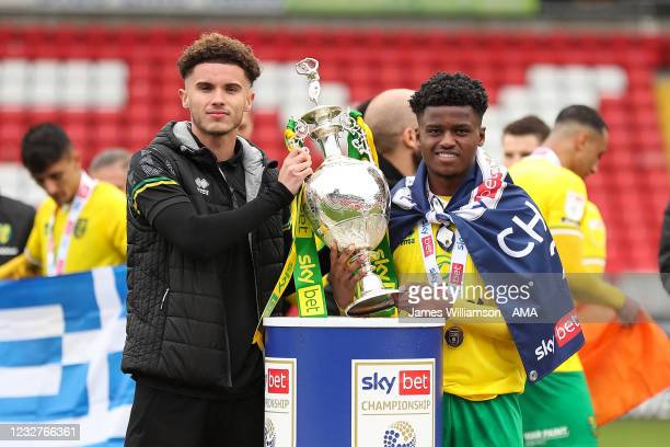 Josh Martin and Bali Mumba of Norwich City during the Sky Bet Championship match between Barnsley and Norwich City at Oakwell Stadium on May 8, 2021...