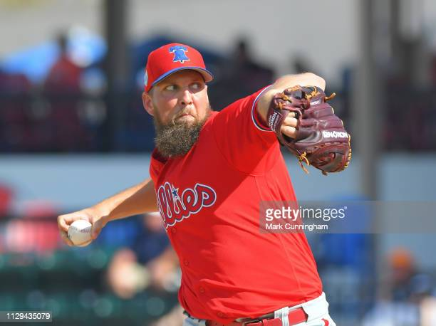 Josh Martin of the Philadelphia Phillies pitches during the Spring Training game against the Detroit Tigers at Publix Field at Joker Marchant Stadium...