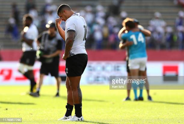 Josh Matavesi of Fiji shows dejection after the defeat during the Rugby World Cup 2019 Group D game between Fiji and Uruguay at Kamaishi Recovery...