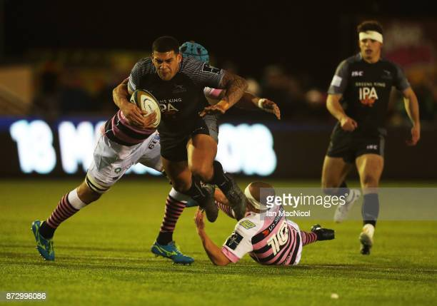Josh Matavesi of Newcastle Falcons is tackled by Ben White of Cardiff Blues during the AngloWelsh Cup match between Newcastle Falcons and Cardiff...