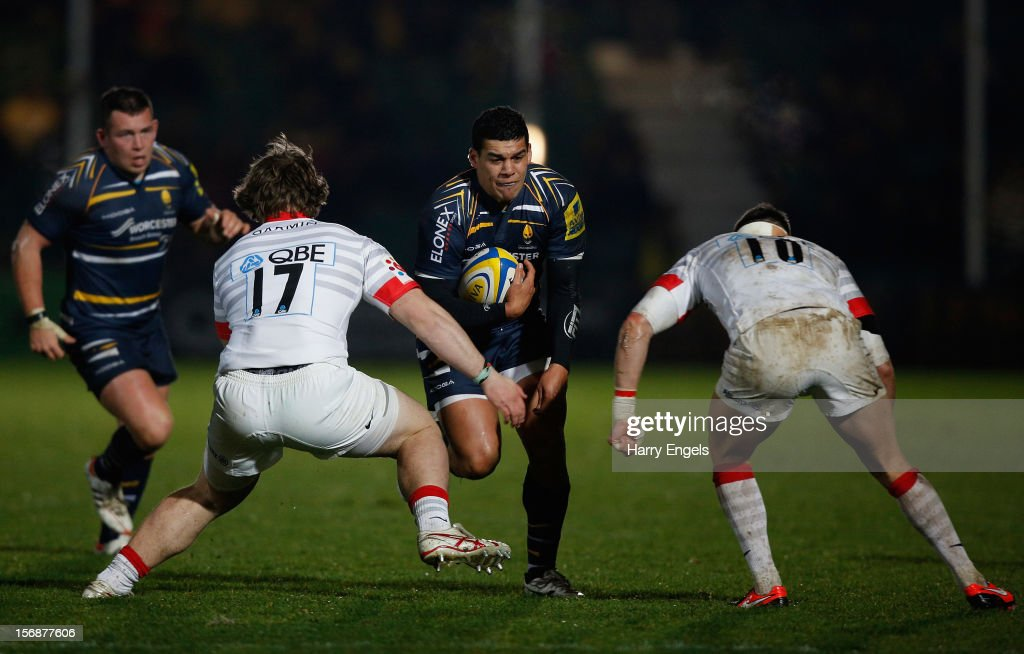 Josh Matavesi of Worcester charges at the Saracens defence during the Aviva Premiership match between Worcester Warriors and Saracens at Sixways Stadium on November 23, 2012 in Worcester, England.